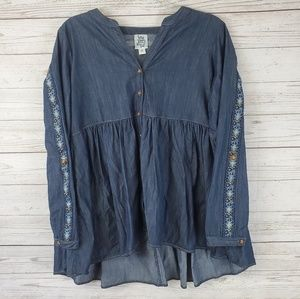 Ivy Jane Blue Chambray Embroidery Sleeve Top